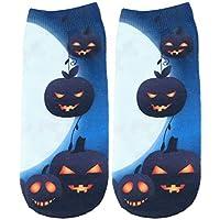 FENICAL 1 par de Mujeres Corte bajo Tobillo Calcetines de Halloween Tema Impreso elástico Antideslizante All Seasons Sneaker Calcetines Cortos (Calabazas)