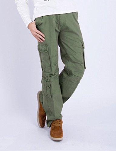Ghope Herren Baumwolle Cargohose Hose Militärische Übergröße Chino-Hose Outdoor Trainingshose Freizeithose in 5 Farben 28W-46W Armeegrün