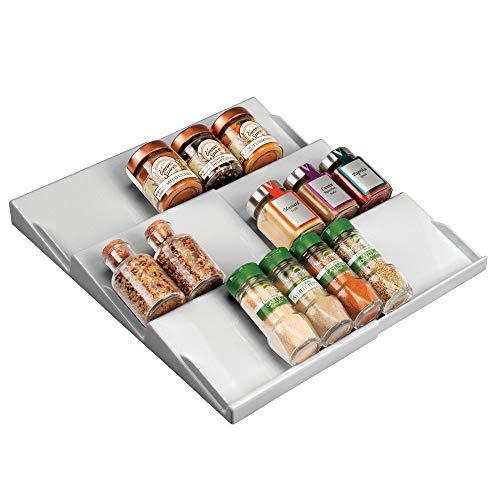 mDesign support à épices pour tiroir - range épice extensible de 20 cm jusqu'à 36,8 cm - présentoir à épice pour tiroir à trois niveaux - gris