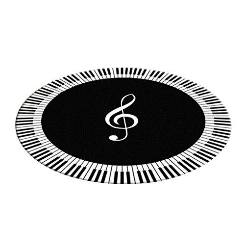 Alfombra redonda en la sala de estar Dormitorio para la cama Silla de mesa de café Rug Mat Alfombrilla Blanco y Negro Piano Keys Patrón ( Tamaño : Diameter 100cm )