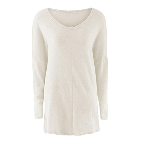Pull Femme Casual manches longues Jumper Sweaters Manteau Chemisier Grande Taille Blanc
