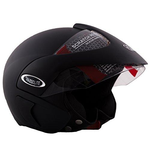 Autofy Habsolite Estilo Matte Finish Flip Up Helmet (Black, M)