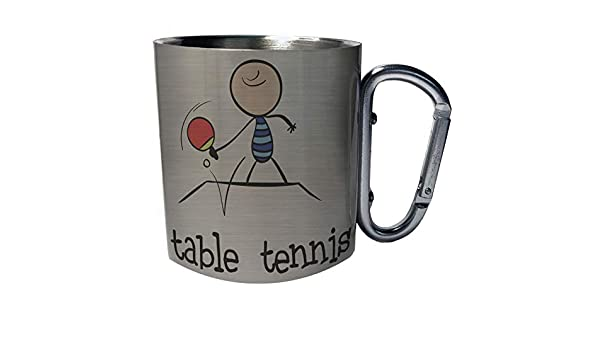 Table Tennis Sports Funny Comic New Stainless Steel Carabiner Travel Mug 11oz g156c