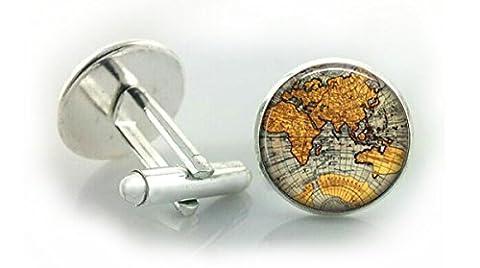 World/Earth Cufflinks and Cuff link presentation box (World