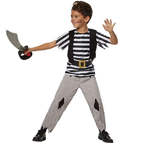 Jungenkostüm kühner Pirat, Piraten-Outfit im Fransen-Look inkl. Gürtel (164   Nr. 302685) ()