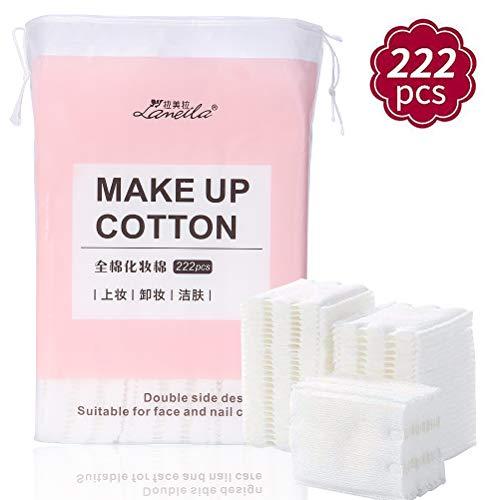 Lameila Fusselfreie, reine, Baumwoll-Pads, für die Gesichtsreinigung, zum Entfernen von Augen-Make-up, Nagellack und zum Auftragen von Hautpflegeprodukten - 222 Stück, doppelseitig