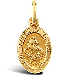 Jewelco London Solid 9ct Yellow Gold Matte Oval St Christopher Medallion Pendant