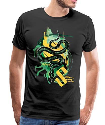 Spreadshirt Harry Potter Haus Slytherin Schlange Männer Premium T-Shirt, L, Schwarz (Hexerei Filme Top)
