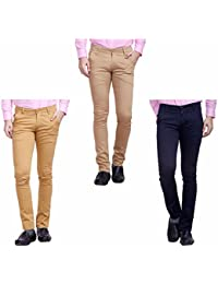 Nimegh Navy Blue, Wine And Beige Color Cotton Casual Slim Fit Trouser For Men's (Pack Of 3)