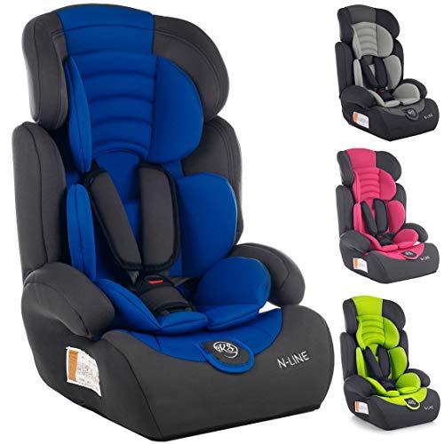 Autositz Kinderautositz Autokindersitz Gruppe I/II/III 9-36kg 4 Farben NEU Kindersafety NEU+ ECE R44/04 geprüft, Farbe BLAU GRAU PINK GRÜN 5-Punkte-Sicherheitsgurt Kopfstütze verstellbar (KP0101BLU)