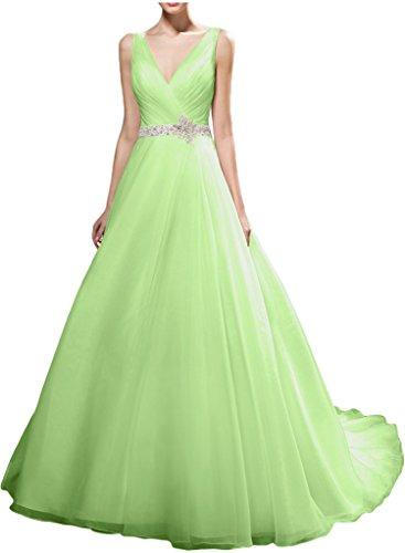 Gorgeous Bride Schlicht V-Ausschnitte A-Linie Organza Lang Abendkleider Brautkleider Hochzeitskleider Sage