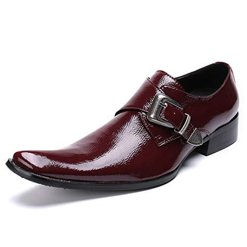 (YAN Herren Formelle Schuhe Leder Herbst & Winter Fashion Business Schuhe wies Business/Casual / Party & Abendkleid Schuhe (Farbe : Rot, Größe : 37))
