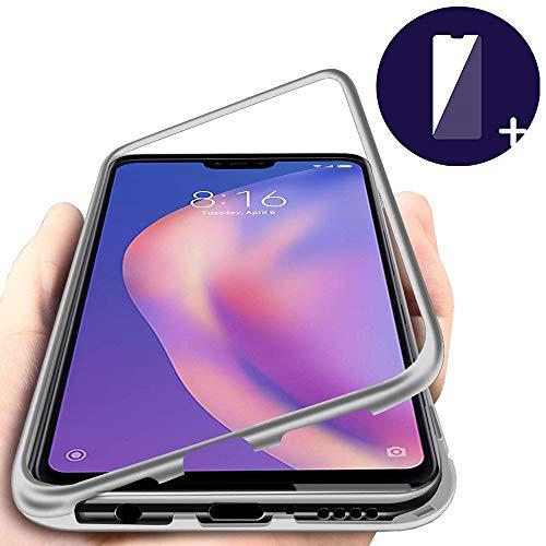 DoubTech Funda para Xiaomi Mi 8 Lite Carcasa Adsorcion magnetica Tech Imanes Fuertes Aluminio Cuadro Posterior Transparente Anti-rasguños Proteccion Cover + Vidrio Templado Protector Pantalla