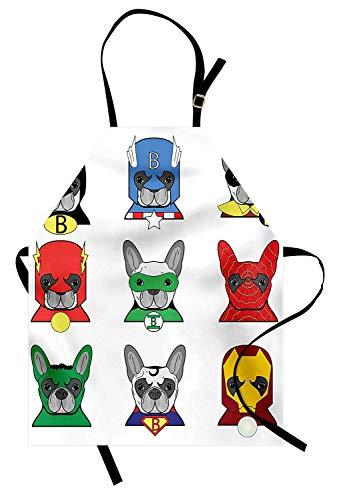 Superheld Schürze, Bulldogge Superhelden Spaß Cartoon Welpen in Verkleidung Kostüm Hunde mit Masken drucken, Unisex-Küche Latzschürze mit verstellbarem Hals zum Kochen Backen Gartenarbeit, ()