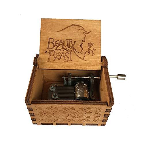 Caja de música de manivela de madera tallada antigua, caja musical exquisita del tema retro para el regalo del día de fiesta de cumpleaños size Beauty and the Beast