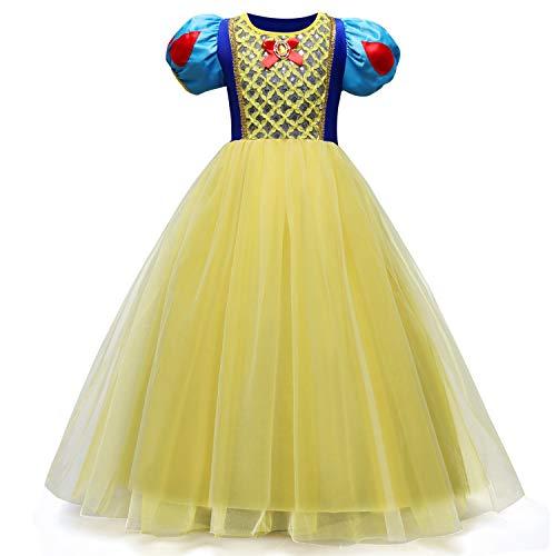 QSEFT Schneewittchen Kleid Kinder Hochzeit Kleid Mädchen Cosplay Mädchen Langes Kleid Kinderkleidung Kinder Kleidung Taufe Kleid 3-8 Jahre Alt,140 (Traditionelle Kleid Taufe)