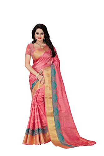 Vatsla Enterprise Women\'s Cotton silk Saree (VPAITESTLRAEE_PEACH)