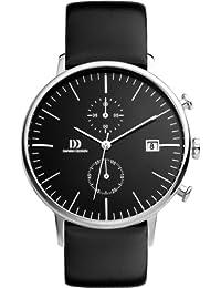 Danish Design Herren-Armbanduhr Chronograph Leder schwarz DZ120140