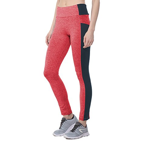 CHKOKKO Women's Polyester Solid Yoga Sports High Waist Track Yoga Pant (Red, Medium)
