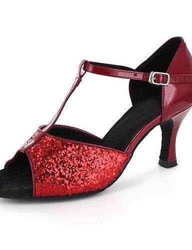 ShangYi Chaussures de danse(Noir / Rouge / Or) -Personnalisables-Talon Personnalisé-Similicuir-Latine Black