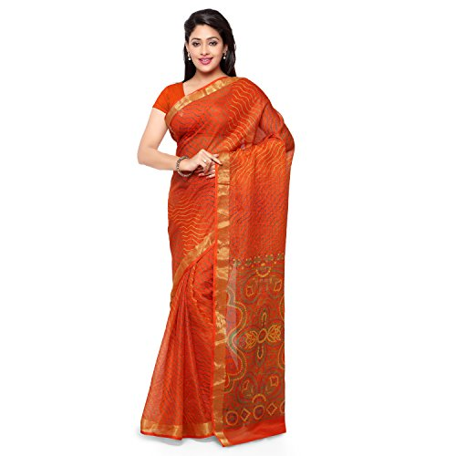 Rajnandini Women's Leheriya Bandhani Printed Kota Silk Cotton Saree(JOPLSRS1080E_Orange_Free Size)