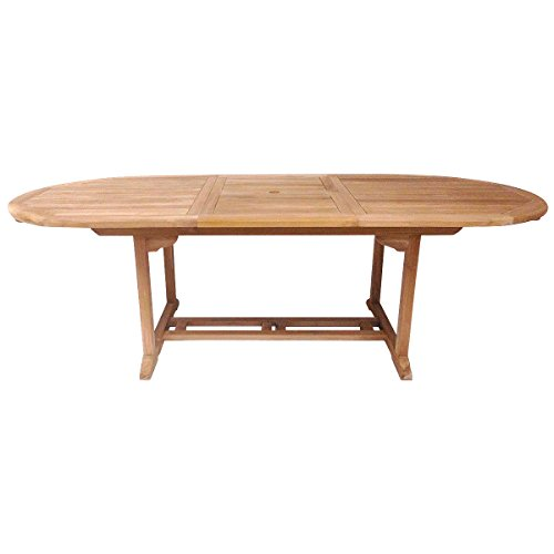 Charles Bentley Garden Solid Wooden Teak Garden Patio Oval Extendable Table