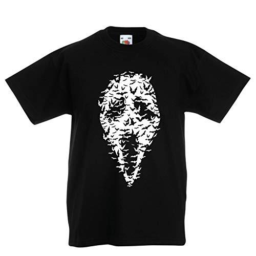 lepni.me Kinder Jungen/Mädchen T-Shirt Geister - gruselige Fledermäuse, Halloween Partykostüm (14-15 Years Schwarz Mehrfarben)