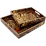 Designer MDF Wooden Serving Trays Set With Handle | Set Of 2 Trays | With Special Enamel Coating (Carving)
