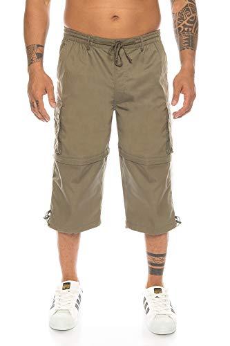 Kendindza Herren Bermuda | abnehmbare Beine Zipp-Off von 3/4 in Kurze Hose (Olive | Muster 1, XXXL) -