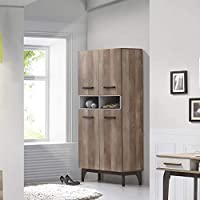 Maison Concept Martini Cabinet, Brown and Grey - H 1790 x W 360 x D 800 mm