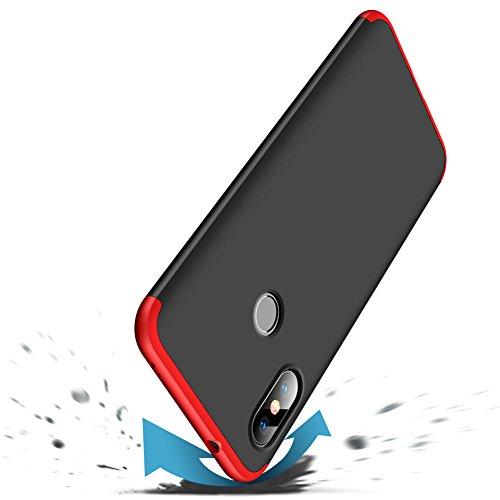 ERLI Xiaomi Mi A2 Lite/Redmi 6 Pro Hülle, 360 Grad ganzkörper Schutz DREI in eins Telefon Kasten (Rot, Schwarz)