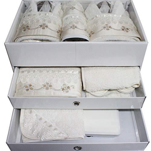 Russo tessuti set bagno 30 pezzi lui/lei 3 fiori spugna macrame' panna bianco barocco