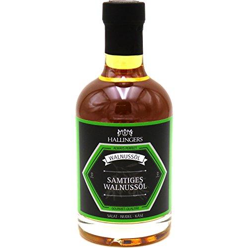 Hallingers Feinstes Gourmet-Öl – Samtiges Walnussöl – Geschenk für Sie und Ihn z.B. zum Grillen, Marinieren, Salate | Exklusivflasche | 350ml