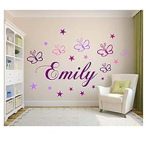 Wandschn rkel wandtattoo kinderzimmer wunsch namen personalisiert in lila mit 19 - Amazon kinderzimmer ...