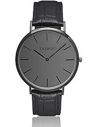 c298d23f6df9 Reloj hombre RELOJ tayroc Classic Black Classic cronógrafo acero inoxidable  cuarzo banda de cuero reloj de