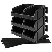Lantelme 9 Piece Set of Stackable Storage Boxes with wall bracket set storage boxes stackable black plastic storage box German production 3932
