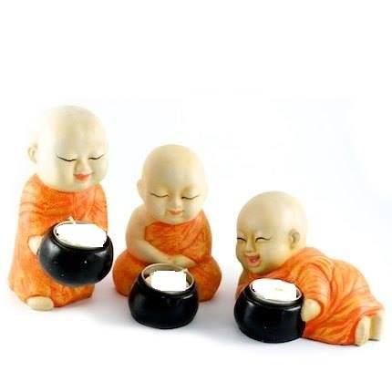 Karigaari Orange & White Buddha Monks Candle Holders