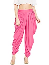 BITTERLIME Womens Crepe Solid Pleated Dhoti Pant (BLMG12787L, Pink, Large)