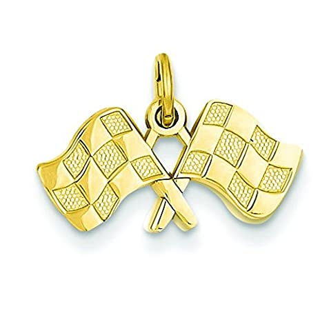 14ct Yellow Gold Racing Flags Charm - Measures 14.1x18.4mm