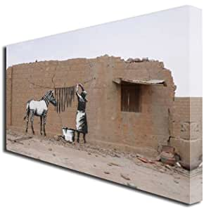 Box Prints 727 Toile Graffitis Banksy Rayures de zèbre Grand format