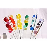 Set of Six Rainbow Glass Cocktail Stirrers in Gift Box