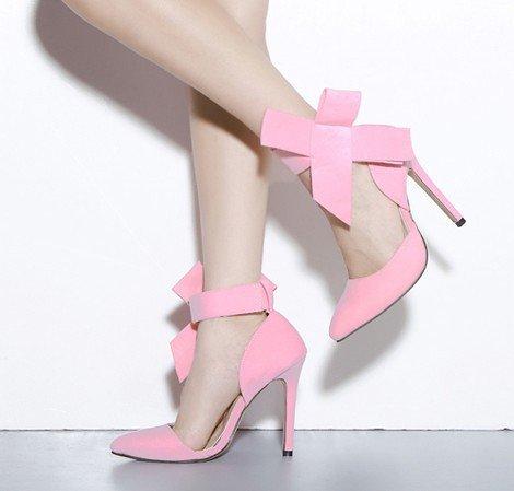 WZG chaussures pointues peu profondes latérales bouche de proue de la Grande Croix de l'amende avec les nouvelles chaussures de dames à talons hauts Pink