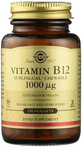 Solgar® Vitamina B 12 1.000 mcg, 250 Comprimidos masticables-sublinguales - Equilibrio psicológico. Apto para veganos. Sabor cereza natural.