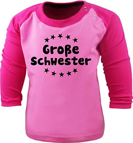 Baby/Kinder Baseball Langarm T-Shirt (Farbe: rosa-pink) (Gr. 122/128) Große Schwester