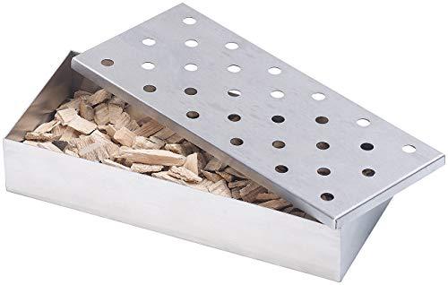 Rosenstein & Söhne Smokerbox: Räucherbox aus rostfreiem Edelstahl, für Gas- und Holzkohlegrills...