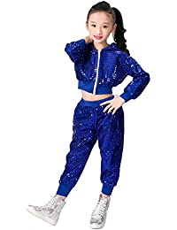 niños niñas Lentejuelas Hip Hop Traje de Calle Conjunto de Ropa de Baile