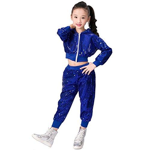 letten Hip Hop Kostüm Street Dance Kleidung gesetzt (128/134, blau) (Tanzkleider Kostüme Für Kinder)