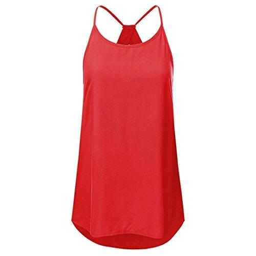 ❤️Tefamore Femmes Sexy sans manches Haltereck Débardeur Débardeur Gilet Blouse T-Shirt (S, Y-Rouge)