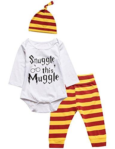 4PCS Baby Garçons Filles Tenue Ensemble Snuggle This Muggle Romper + Un pantalon + Chapeau + Bavoir (6-12 Mois)