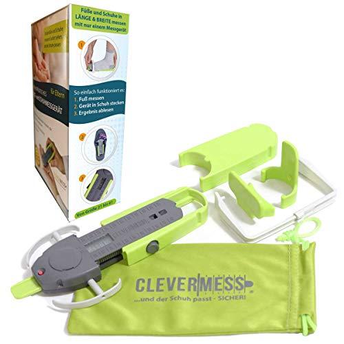 Clevermess Kids - Digitales orthopädisches Fuß & Schuhmessgerät für Länge & Breite Größe 21-41